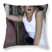 Lady In White Palm Springs Throw Pillow