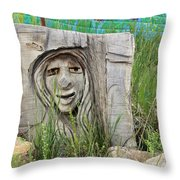 Lady In Wood Throw Pillow