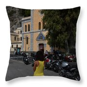 Lady In Yellow By The Church Of San Francesco Maiori Italy Throw Pillow