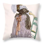 Lady Leaning On Chair, Engraved Throw Pillow