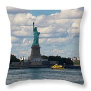 Lady Liberty And Water Taxi Throw Pillow