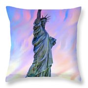 Lady Liberty Blues Throw Pillow
