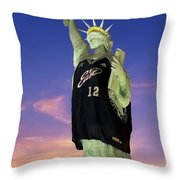 Lady Liberty Dressed Up For The Nba All Star Game Throw Pillow by Susan Candelario