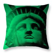 Lady Liberty In Copper Green Throw Pillow