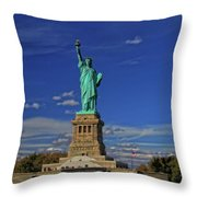 Lady Liberty In New York City Throw Pillow