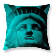 Lady Liberty In Turquoise Throw Pillow