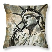 Lady Liberty Vintage Throw Pillow by Delphimages Photo Creations