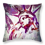 Lady Liberty Watercolor Throw Pillow by Delphimages Photo Creations