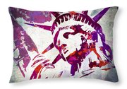 Lady Liberty Watercolor Throw Pillow