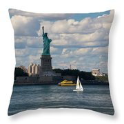 Lady Liberty With Sailboat And Water Taxi Throw Pillow