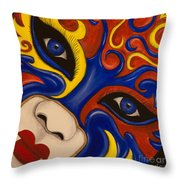 Lady Of Fire And Ice Throw Pillow