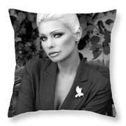 Lady Of Solitude Bw Palm Springs Throw Pillow