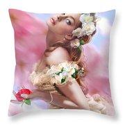 Lady Of The Camellias Throw Pillow by Drazenka Kimpel