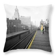 Lady On The El  Throw Pillow