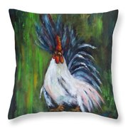 Lady Pleaser, Rooster  Throw Pillow