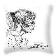 Lady Profile Throw Pillow