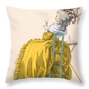 Lady Reclines On Chair Drinking Throw Pillow