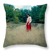 Lady Standing In Grass 2 Throw Pillow