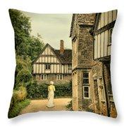 Lady Walking In The Village Throw Pillow by Jill Battaglia