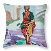 Lady Washing Clothes Throw Pillow
