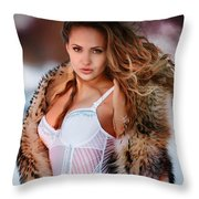 Lady Winter Throw Pillow