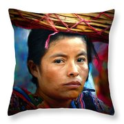 Lady With A Basket Throw Pillow