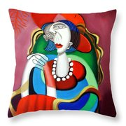 Lady With A Red Hat Throw Pillow