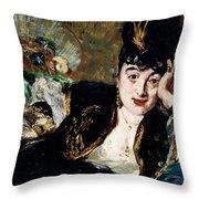 Lady With Fan Portrait Of Marie Anne De Callias Known As Nina De Callias Throw Pillow