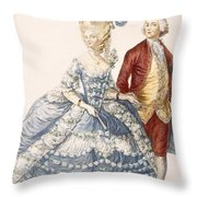 Lady With Her Husband Attending A Court Throw Pillow