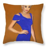 Lady With The Blue Dress Throw Pillow