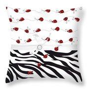 Ladybug Entwined  Throw Pillow
