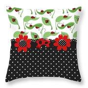 Ladybug Flower Power Throw Pillow