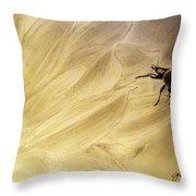 Ladybug On A Sunflower Throw Pillow
