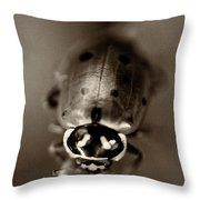 Ladybug On Green Leaf Throw Pillow