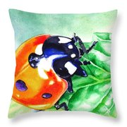 Ladybug On The Leaf Throw Pillow