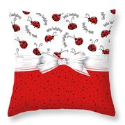 Ladybug Red And White  Throw Pillow