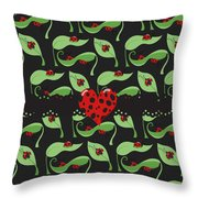 Ladybug Riches Throw Pillow