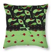 Ladybug Splash Throw Pillow