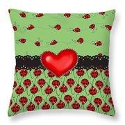 Ladybugs Hearts Desires  Throw Pillow