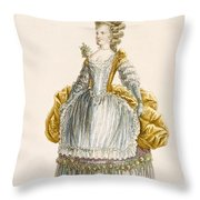 Ladys Ball Gown, Engraved By Dupin Throw Pillow