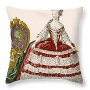 Ladys Court Gown In Dark Cherry Throw Pillow