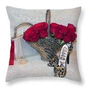 Purse Red Roses Jewelry Diamonds Throw Pillow