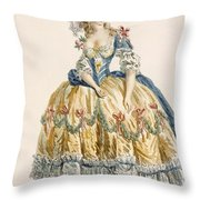 Ladys Elaborate Ball Gown, Engraved Throw Pillow