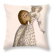Ladys Gown Embroidered With Small Throw Pillow