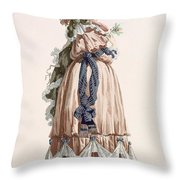 Ladys Summer Walking Gown, Engraved Throw Pillow