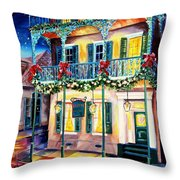 Lafitte Guest House At Christmas Throw Pillow