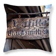 Lafittes Blacksmith Shop Sign Throw Pillow