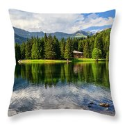 Lago Dei Caprioli - Roe Deer Lake Throw Pillow
