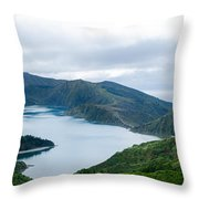 Lagoa Do Fogo Panoramic View Throw Pillow