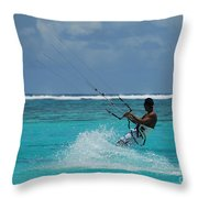 Lagoon Kitesurfer Throw Pillow